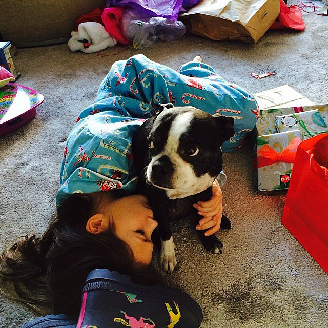 Grace Burns rested after the present-opening mayhem on Christmas morning. Source: Instagram user cturlington