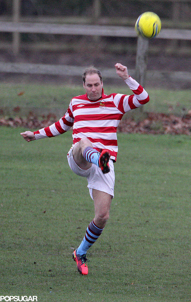 Prince William showed off his soccer skills alongside his brother, Prince Harry.