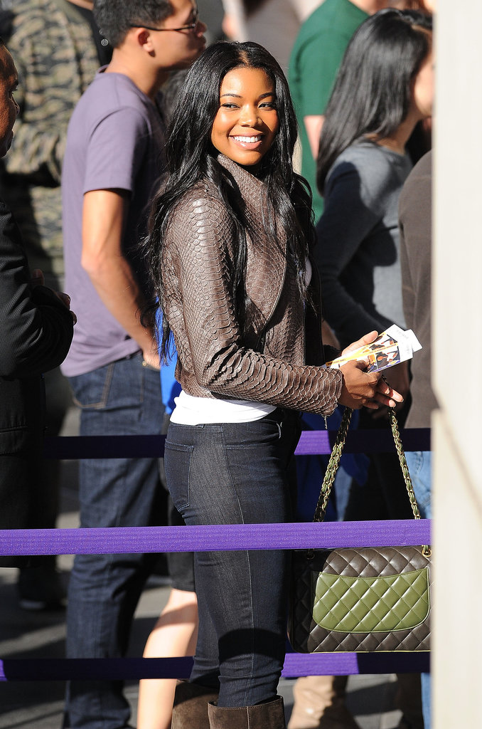 Gabrielle Union popped up in LA to watch the Heat play the Lakers.