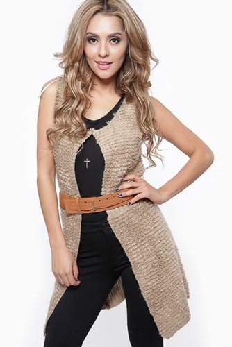 Biege Belted Knit Sweater Vest - What's New