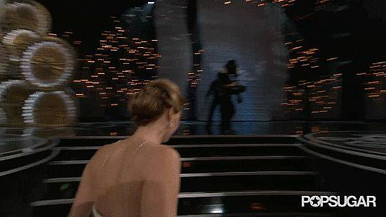 Jennifer Lawrence Trips at the Oscars