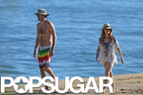 Isla Fisher and Sacha Baron Cohen walked along the beach together during their holiday trip in Hawaii.