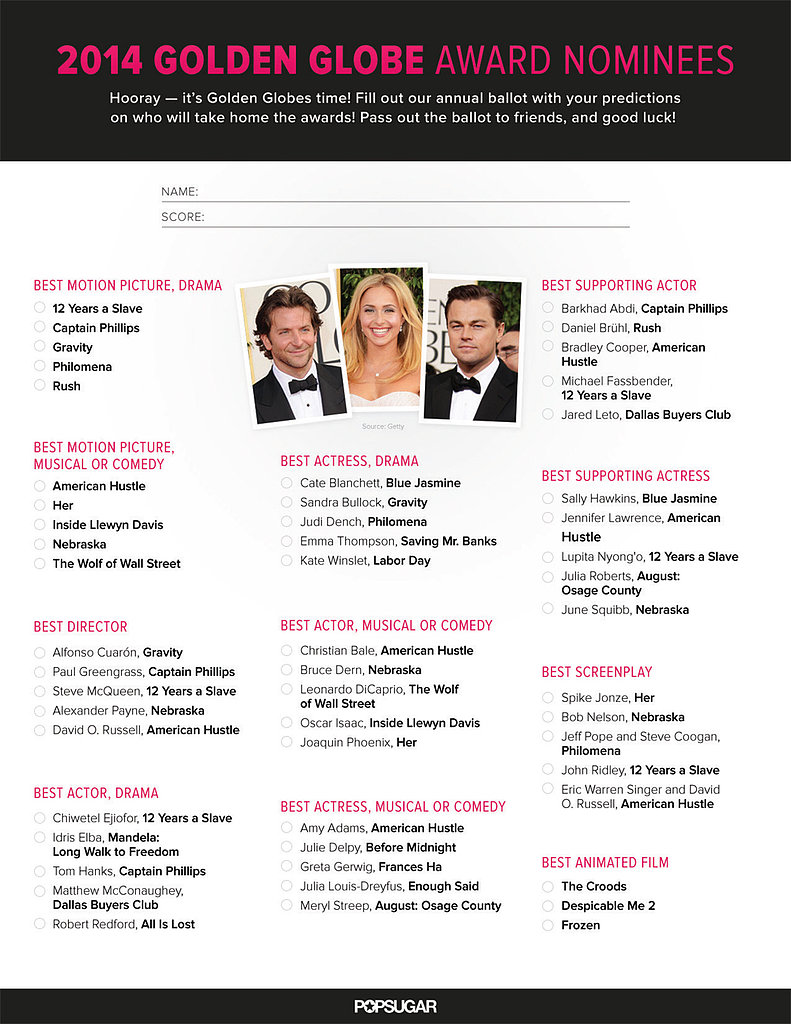 Printable Golden Globes Ballot 2014 | POPSUGAR Entertainment