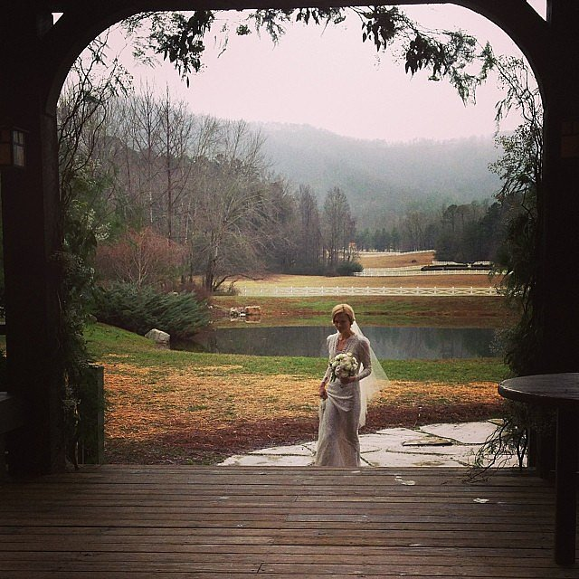 Grimm actress Claire Coffee walked down the aisle at Blackberry Farm in Tennessee and shared a moment on Instagram.  Source: Instagram user clairecoffee