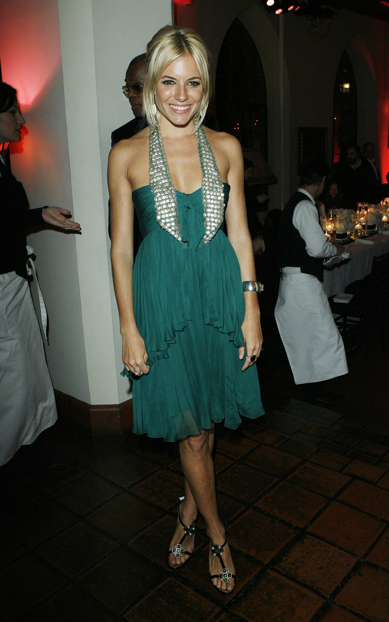 Sienna chose tiered ruffles for a Chanel dinner in 2007.