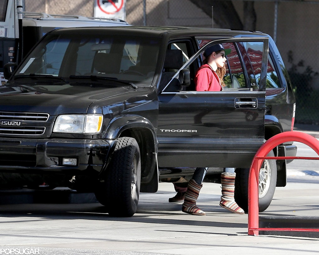 Kristen Stewart made her way to the gas pump.