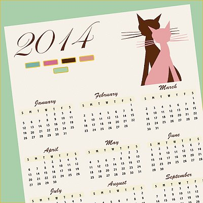 Brown and Pink Cats 2014 Calendar