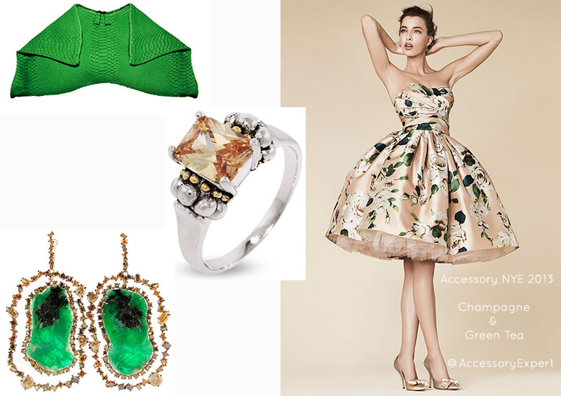 Dolce & Gabbana Emily Cho Lagos Kimberly McDonald Dress Python Clutch Champagne Sterling Silver Ring Earrings