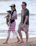 Tom Arnold hit the beach in Hawaii with his wife Ashley and their son Jax.