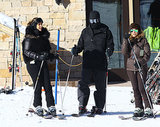 Kim and Kourtney Kardashian hit the slopes in Park City, UT, with Kanye West on Monday.