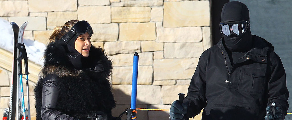 Kim Kardashian Hits the Slopes With a Covered-Up Kanye West