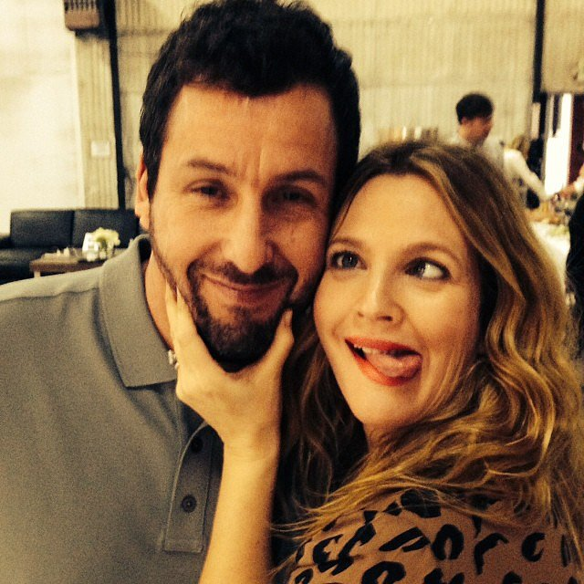 Drew Barrymore and Adam Sandler reunited to promote their new film, Blended, and made time to take this silly snap. Source: Instagram user drewbarrymore
