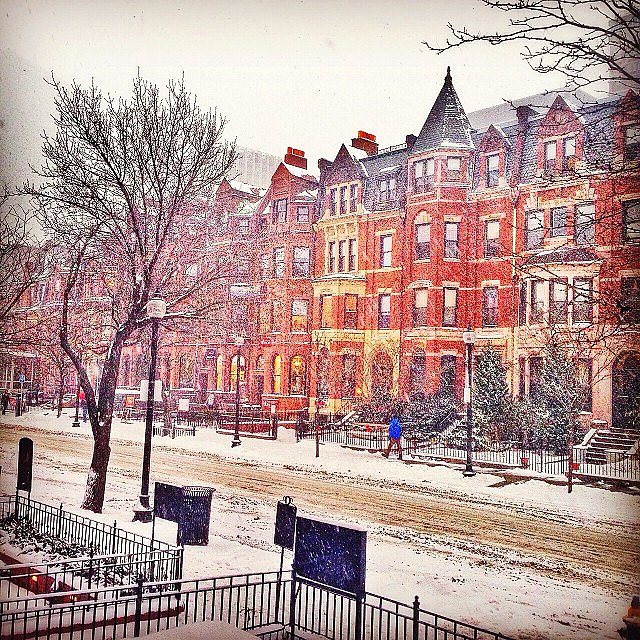 The red buildings in Boston contrasted beautifully with the snow.  Source: Instagram user jm_boston