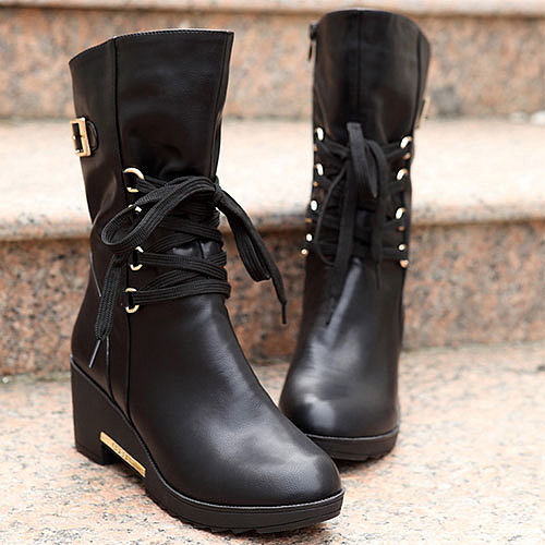 ]Lace Up Zipper Wedge Lined Shoes Warm Mid Calf Martin Boots