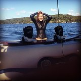 Self-described water baby Lara Bingle looked happy to be home in Sydney. Source: Instagram user mslbingle