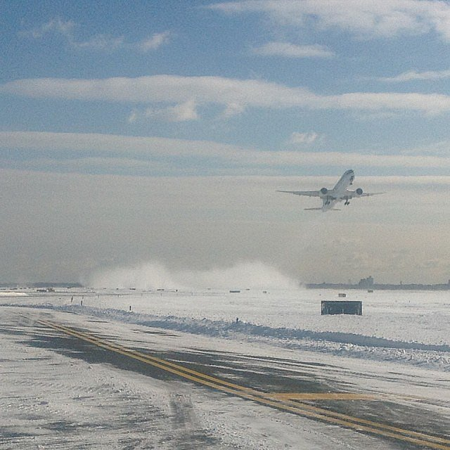 Let's hope this plane is leaving JFK for somewhere sunny.   Source: Instagram user panynj