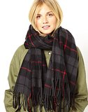 ASOS Red and Gray Plaid Scarf