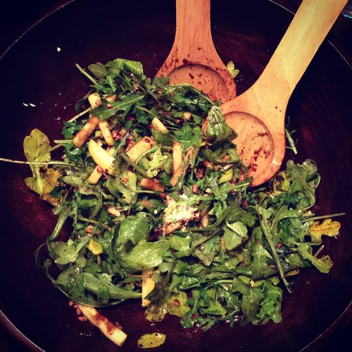 Arugula, Caramelized Pecans and Balsamic Salad
