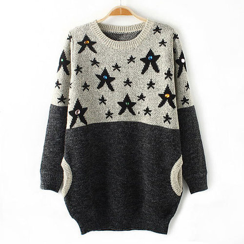 Image of [grxjy560785]Contrast Color Stars Sparkly Rhinestone Packet Hip Crewneck Sweater Pullover