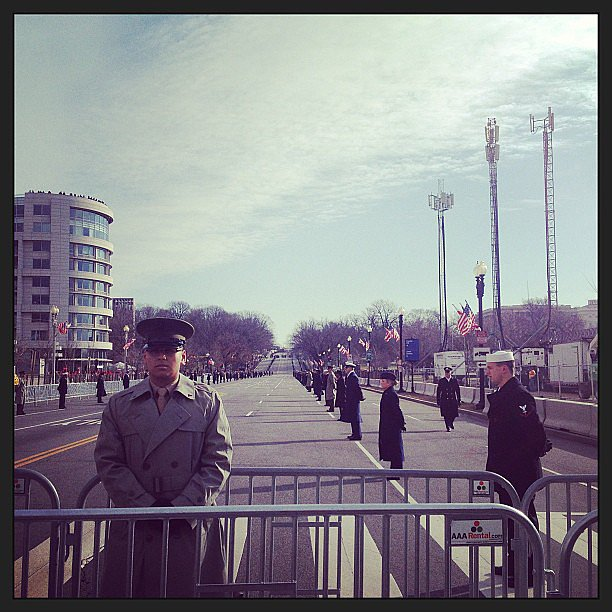 Armed services lining the parade route for the inauguration.