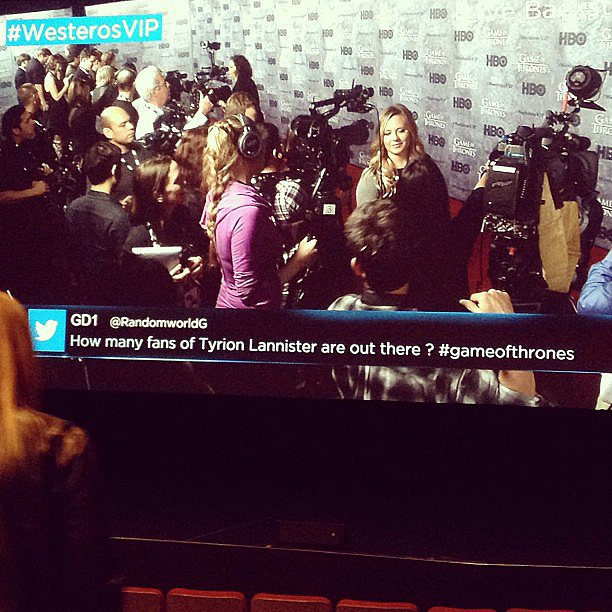 POPSUGAR video team on the Game of Thrones red carpet.