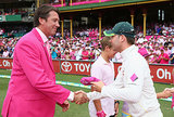 Michael Clarke presented his pink cap to Glenn McGrath.