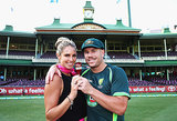 Candice Falzon and David Warner posed with the urn after Australia's victory.