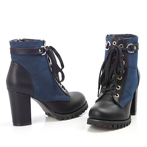 Image of [grxjy5190169]Retro Cool Mixing Color Lace-up Chunky High-heeled Booties
