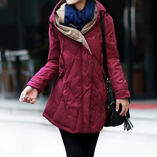Irregular Hem Quilted Drawstring Hood Padded Jacket Thick Long Coat