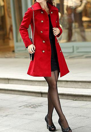 Image of [grzxy6600980]Shouler Epaulet Double Breast Slim Fit Tunic Jacket Long Coat