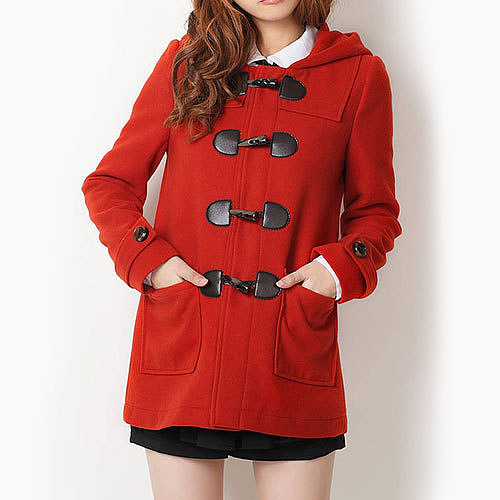 Image of [grzxy6600978]Sweet Candy Color Classic Toggle Button Duffle Coat Hooded Jacket
