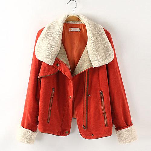 Image of [grxjy560795]Vintage Style Lapel Short Corduroy Zipper Jacket Loose Fit Coat