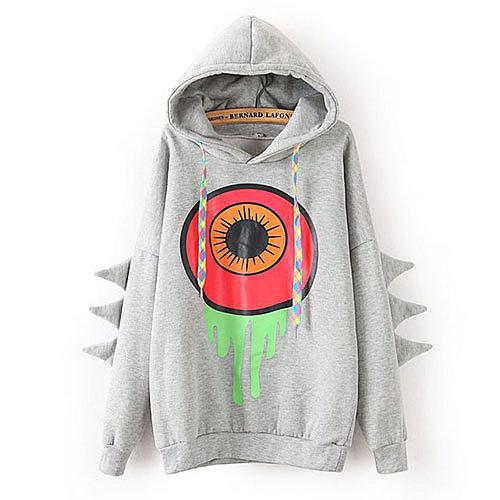 Image of [grxjy560791]Cute Big Eye Print Mixed Color Drawstring Hooded Sweatshirt Jumper