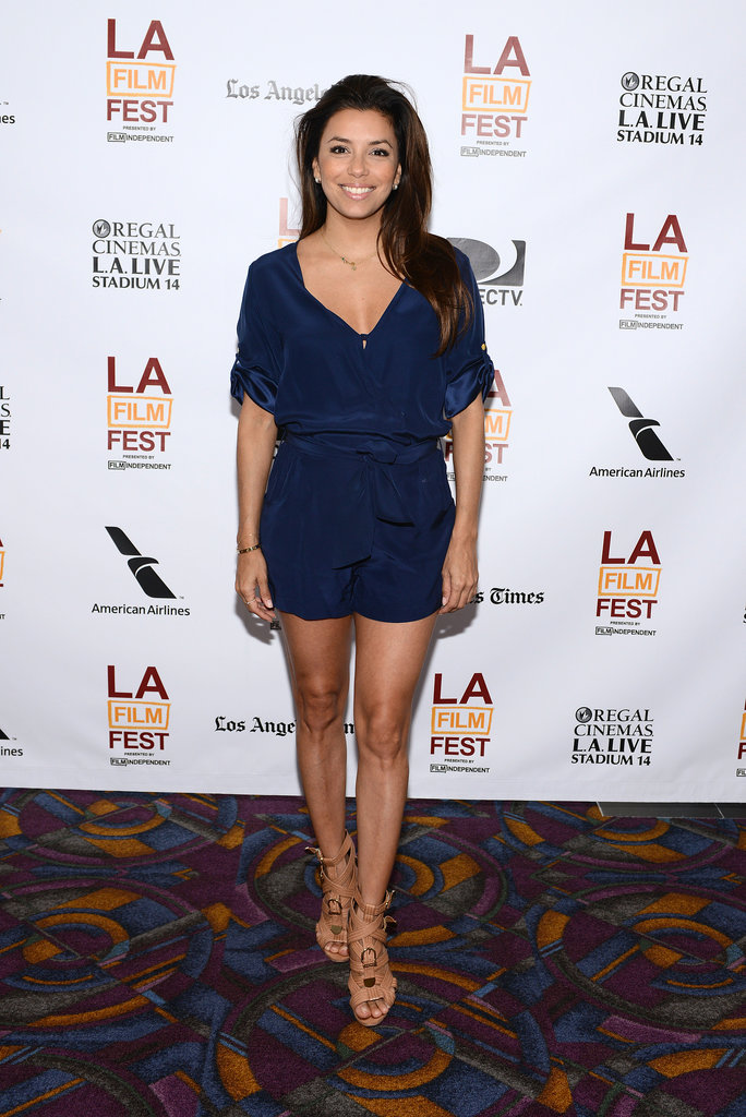 At the 2013 LA Film Festival, the naturally gorgeous Eva was both polished and playful in a dressed-up romper and strappy nude platforms.