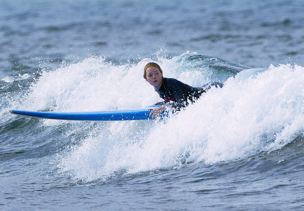 Emma Stone tried to get up during one small wave run.