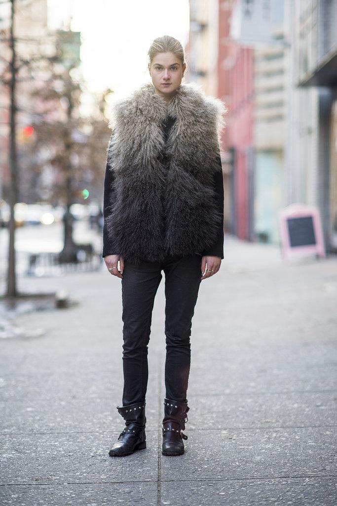 Nothing adds interest quite like a furry vest.  Source: Le 21ème | Adam Katz Sinding