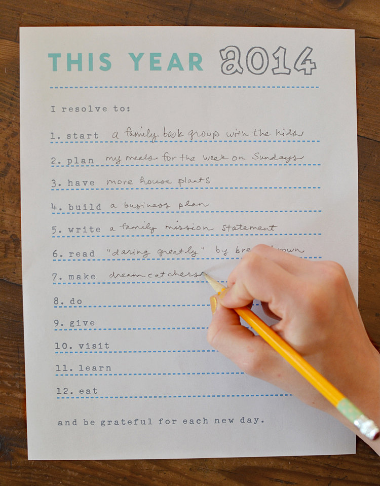 Action Verbs Resolutions Printable