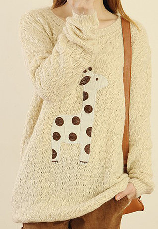 Image of [grzxy6600416]Fresh Sweet Deer Patched Knit Sweater