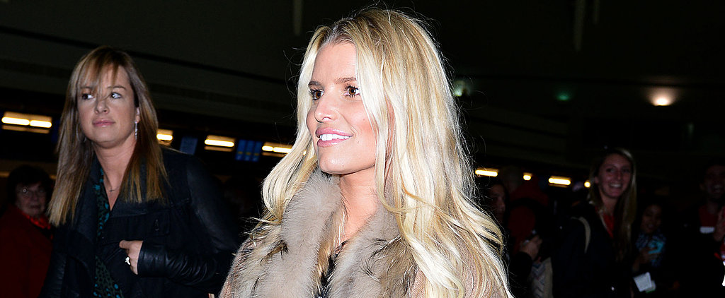 Jessica Simpson's Airport Attire? Leather and Fur