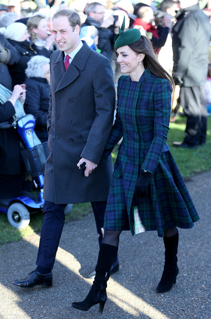 Kate and William held hands when they attended Christmas Day service at Sandringham in December 2013.