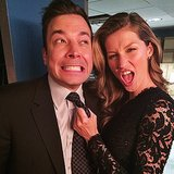Gisele Bündchen grabbed onto Jimmy Fallon during an appearance on his late-night show. Source: Instagram user giseleofficial