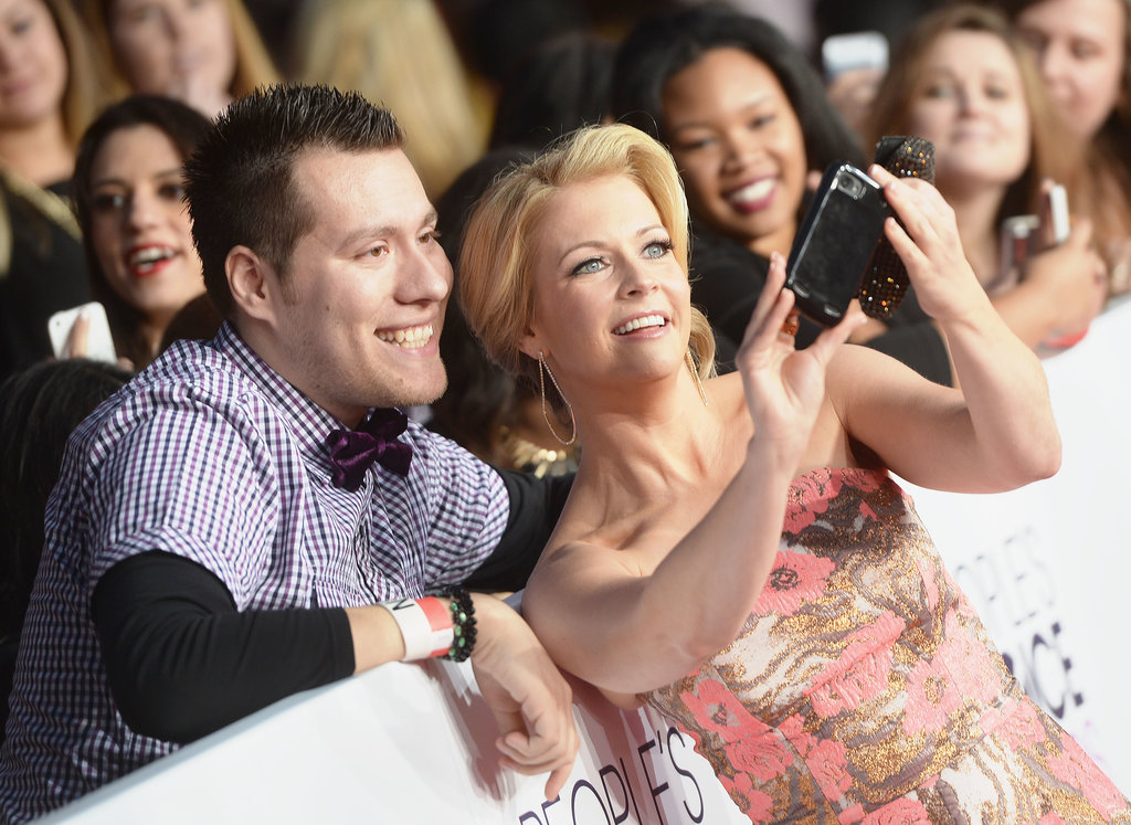 Melissa Joan Hart held the camera for a fan selfie.