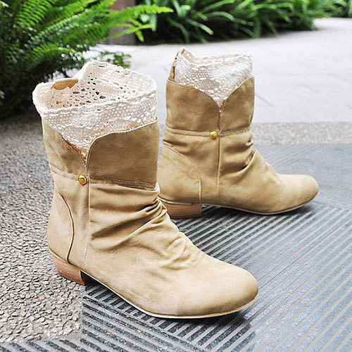 Image of  [grzxy61900228]Sweet Style Splicing Split Crochet Collar Ankle Booties Mid Heel Shoes