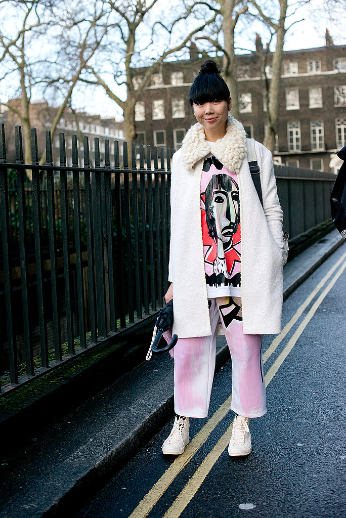 Susie Bubble brought her style whimsy to the shows with an abstract tee and a textured collar.