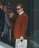 Johnny Depp played the part of a suave art dealer on the set of Mortdecai in LA on Monday.