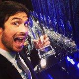 Ian Somerhalder posed with his award backstage. Source: Instagram user iansomerhalder