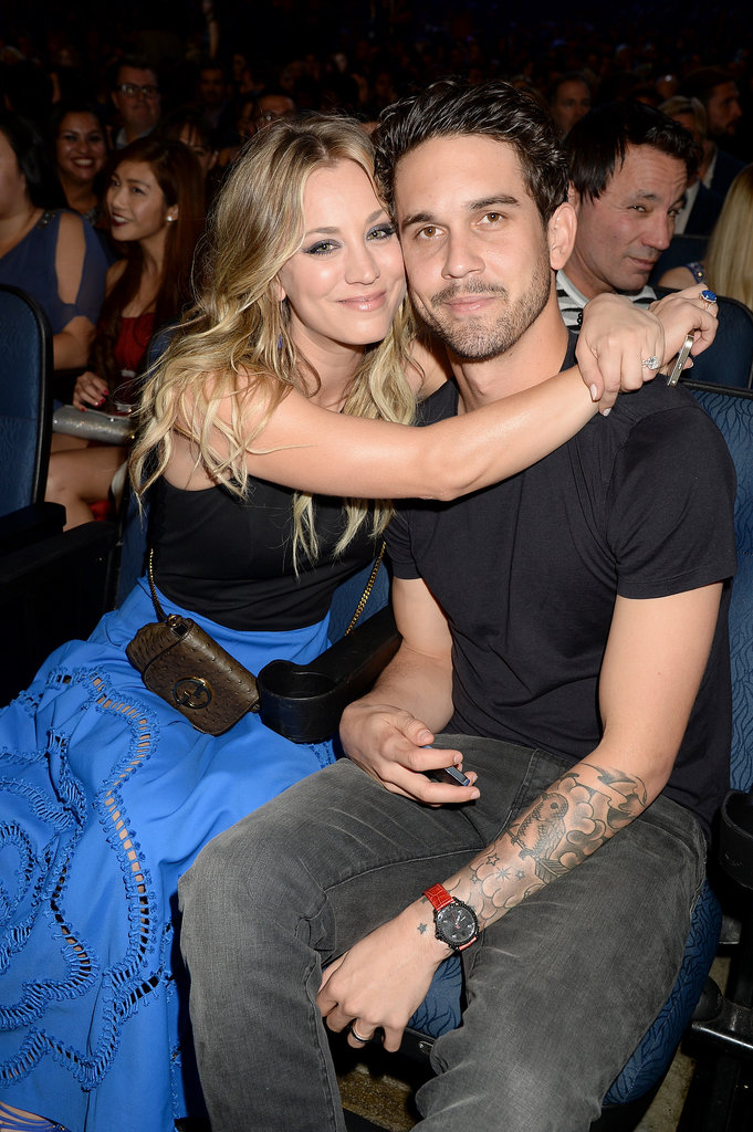 Newlyweds Kaley Cuoco and Ryan Sweeting cuddled during Wednesday night's People's Choice Awards in LA.