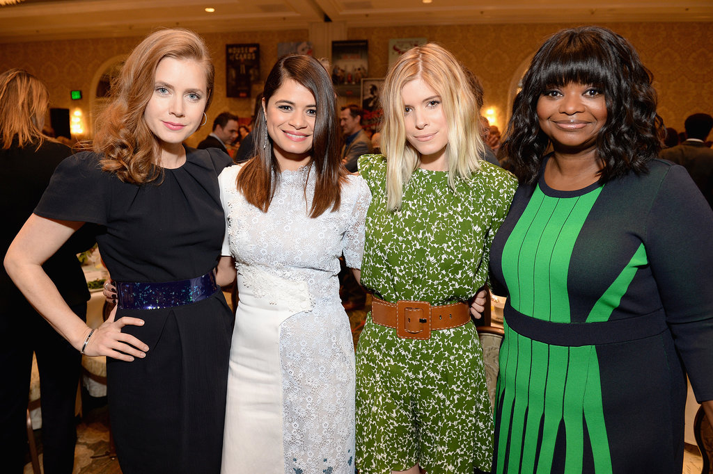 Glamorous women! Amy Adams, Melonie Diaz, Kate Mara, and Octavia Spencer wrapped their arms around each other for a ladies-only photo.