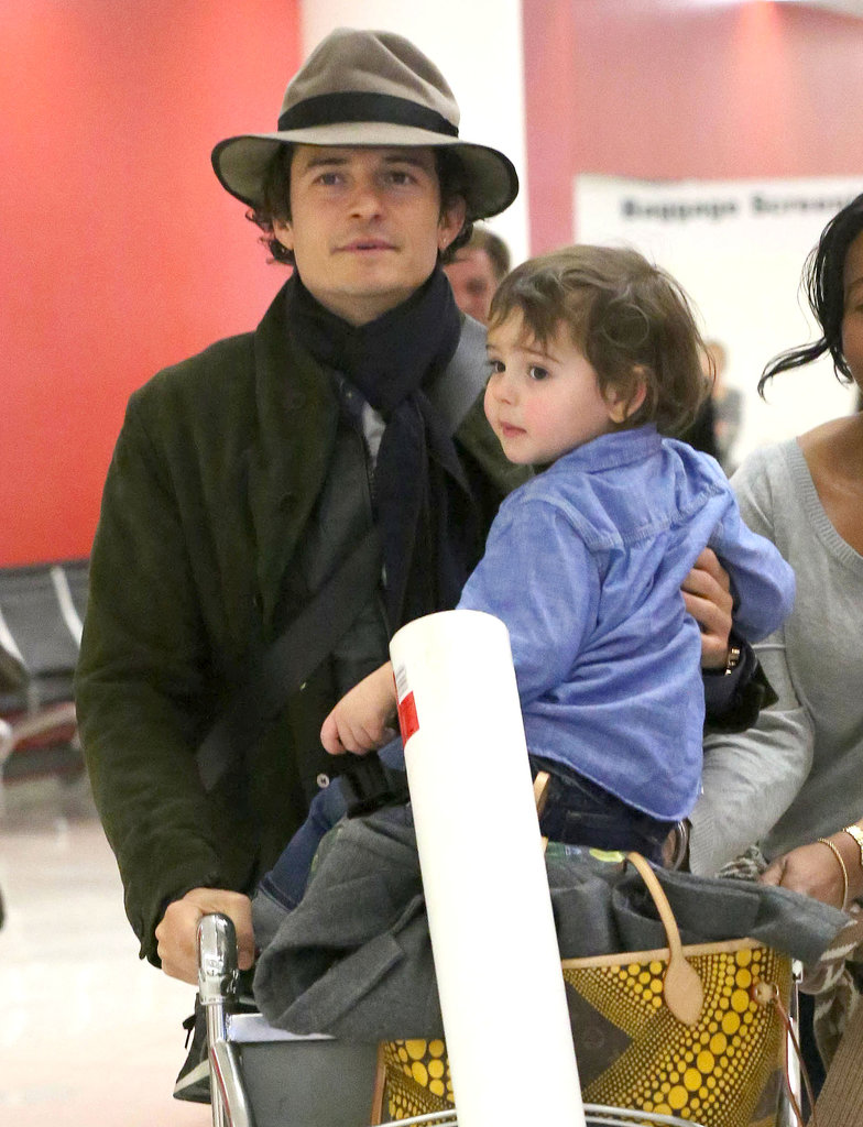 Orlando Bloom and his son, Flynn, arrived in LA on Thursday.
