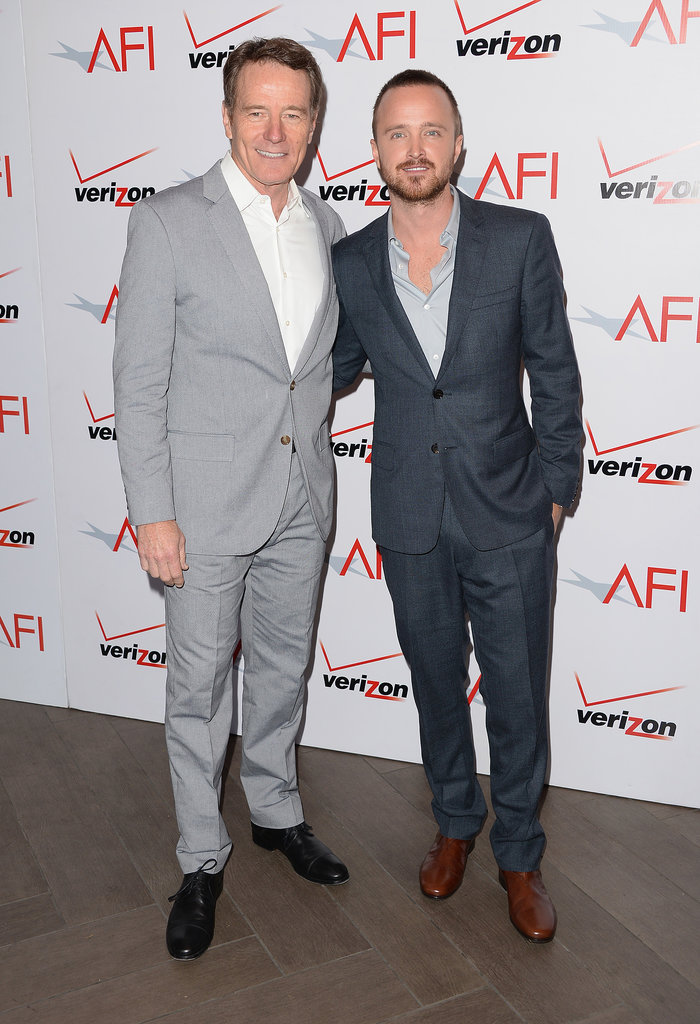 Bryan Cranston and Aaron Paul showed us that even the Breaking Bad boys smile at the AFI lunch on Friday.